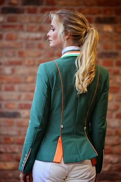 Flying Changes Ladies Charlotte Short Jacket, Green, Tri collar