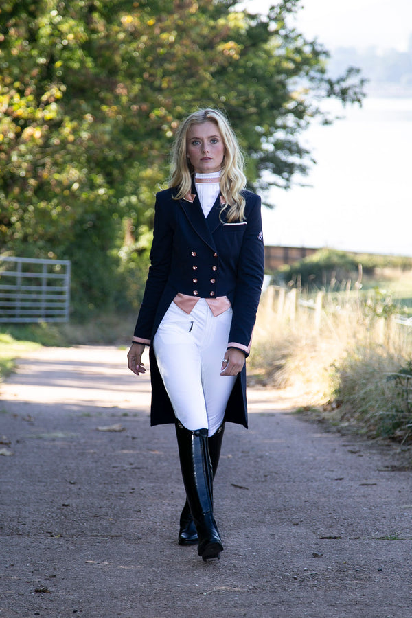 Isabell (navy) Tailcoat/Rose Gold Trim