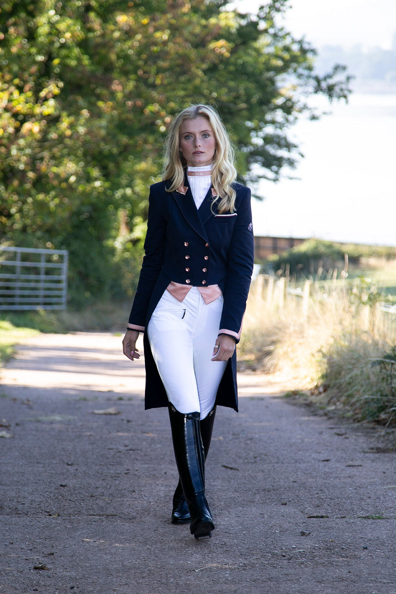 Flying Changes Ladies Isabell Dressage Tailcoat, Navy, Rose Gold