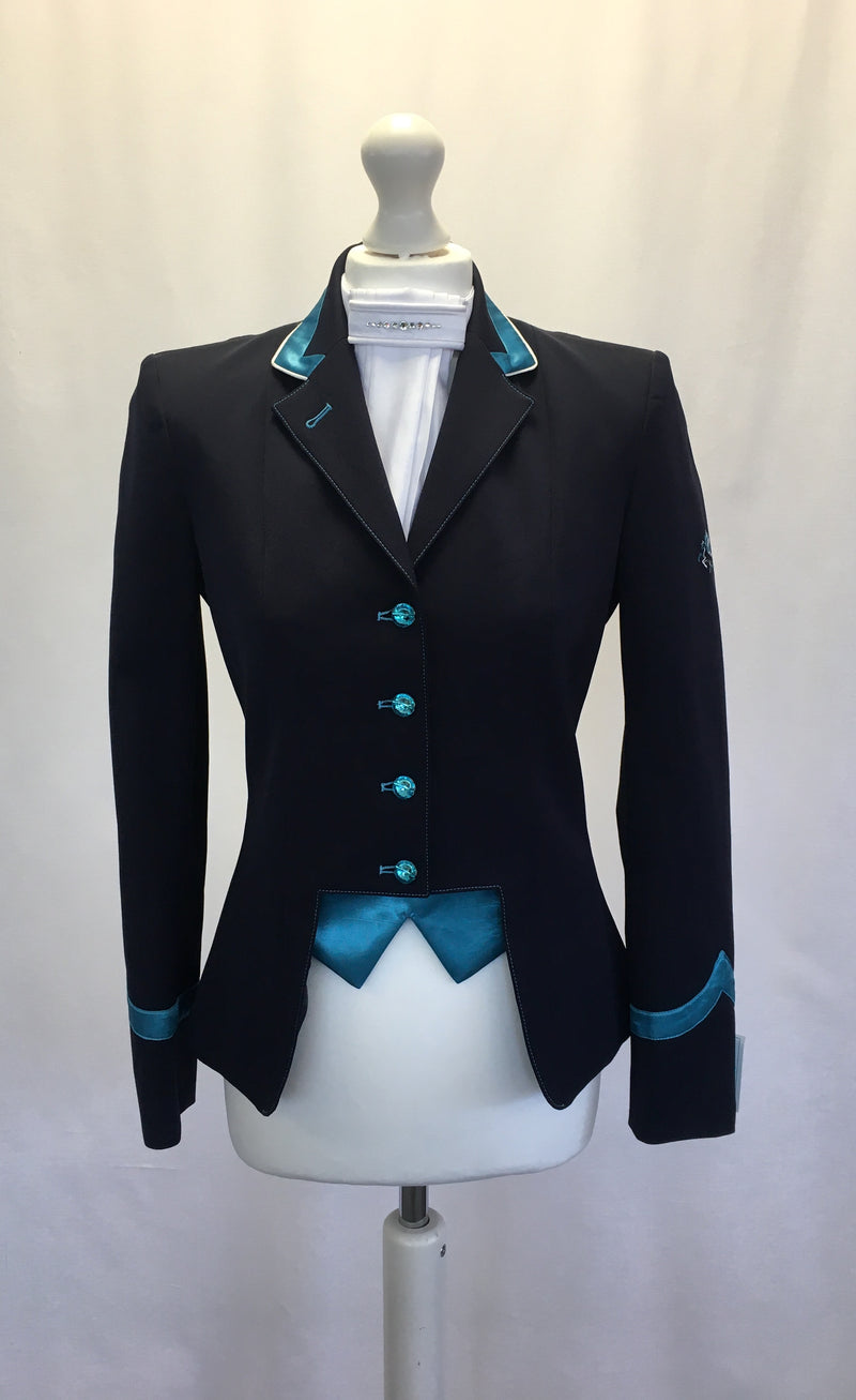 Flying Changes Ladies Gina Short Jacket, Navy, Turquoise