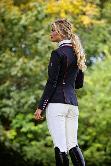Flying Changes Ladies Charlotte Short Jacket, Navy, Tri collar