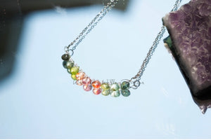 Rainbow Tourmaline Tear Infinity Necklace