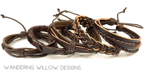 Brown leather Unisex Bracelet Set