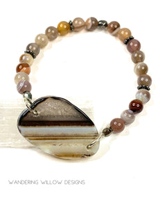 Brown & Botswana Agate Stretch Bracelet