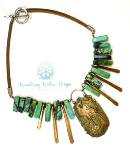 Peacock Goddess Warrior Necklace