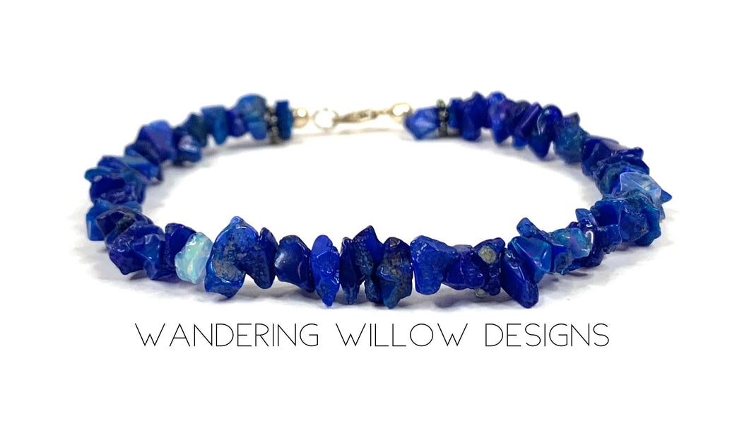 Genuine Blue Opal Chip Gemstone Bracelet