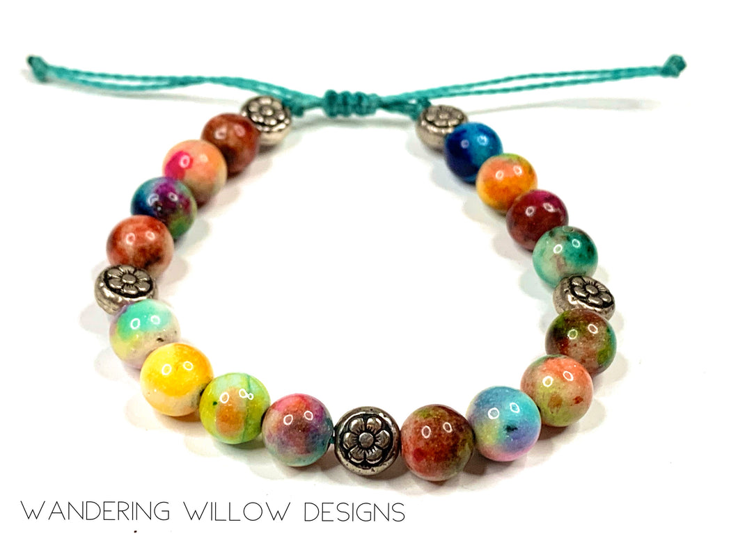 Candy Jade 8mm Flower power Adjustable Bracelet