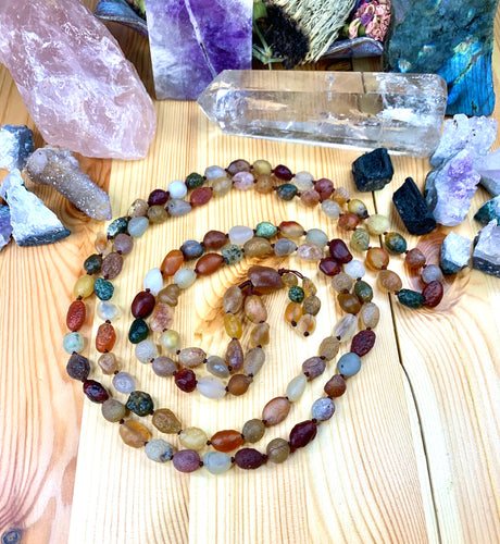 "72"" Gobi Rainbow Agate Rough Mala"