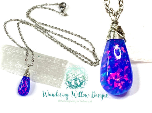 Genuine High Quality Blue Opal Tear Necklace