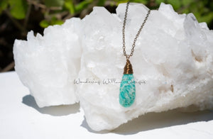 Russian Amazonite Tear Necklace