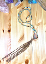 "Load image into Gallery viewer, 36"" Mexican Agate Leather Tassel Mala"