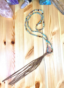 "36"" Mexican Agate Leather Tassel Mala"