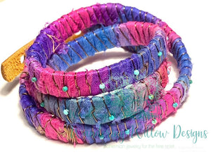 Leather Sari Silk Wrap Bracelet
