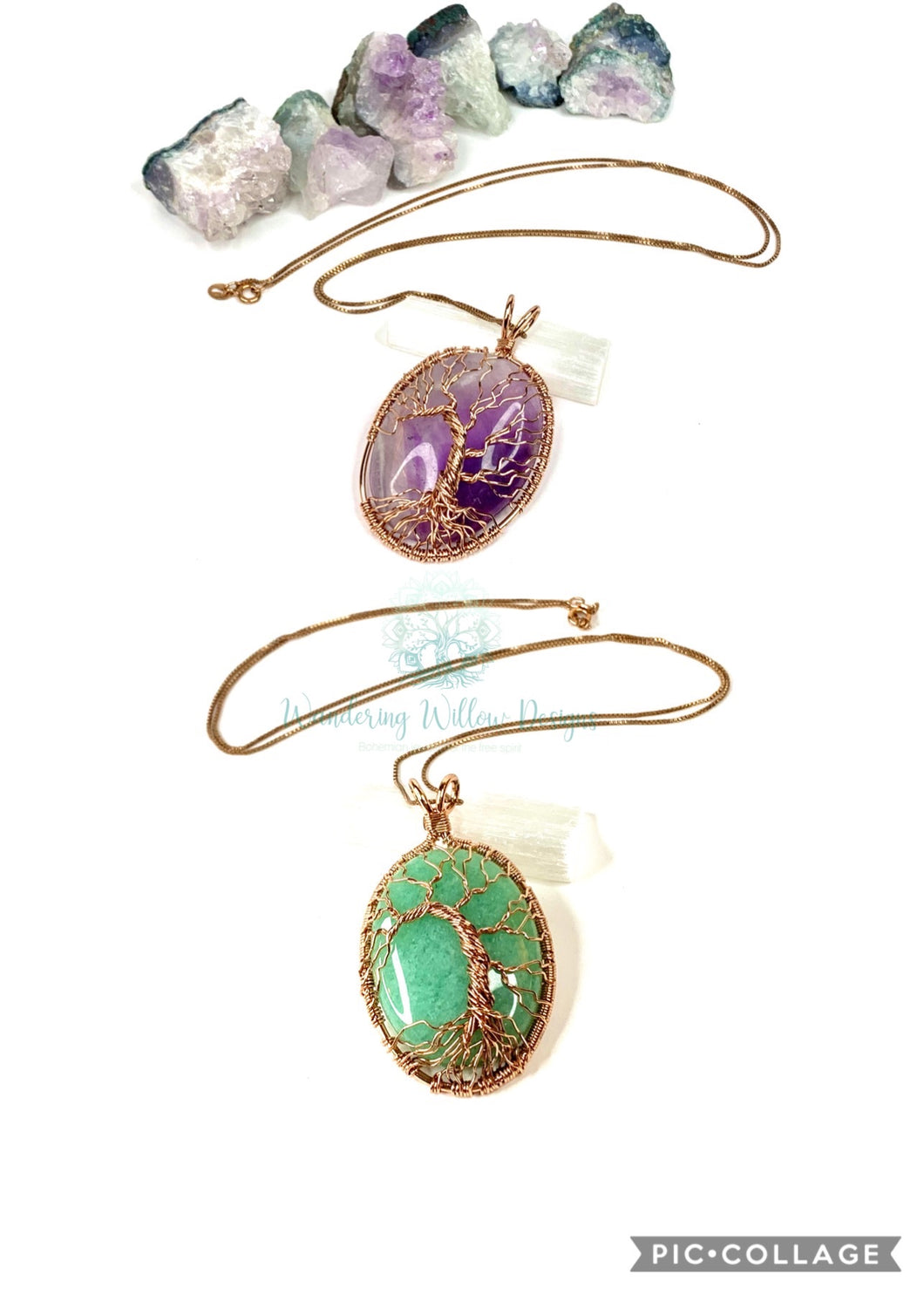 Rose Gold Tree Of Life Pendant Necklaces