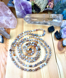 "52"" Matte Indian Gray Agate Mala Necklace"