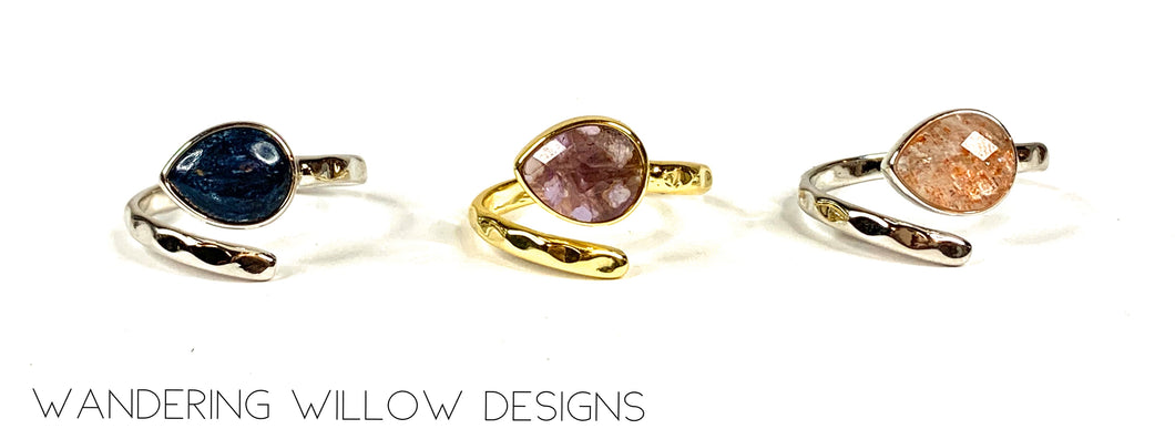 Mix Gemstone Adjustable Rings