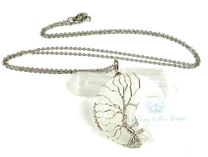 Silver Tree of Life on Crystal Quartz Crescent Moon Necklace