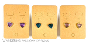 Gemstone Triangle Post Earrings