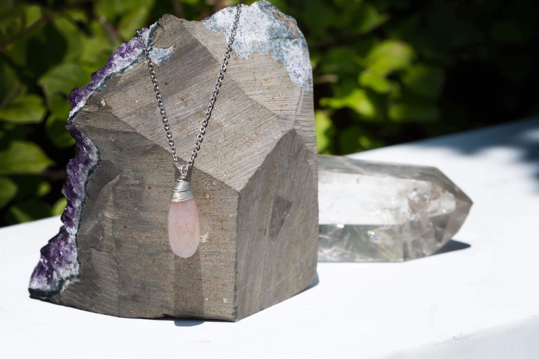 Peach Moonstone Tear Necklace