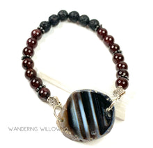 Load image into Gallery viewer, Diffusing Black Agate & Garnet Stretch Bracelet