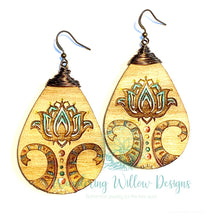 Load image into Gallery viewer, Tooth Pick Painted Lotus Tear Drop Earrings