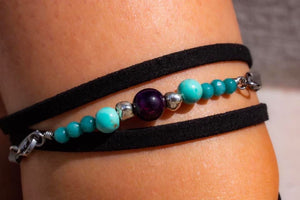 Purple Tigers Eye & Turquoise Wrap Anklet-June Promo