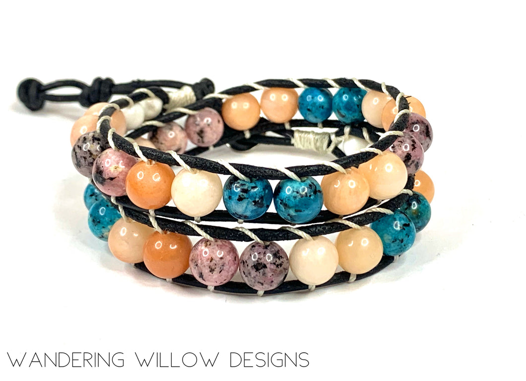 Mix Gemstone Spring Boho Wrap Bracelet
