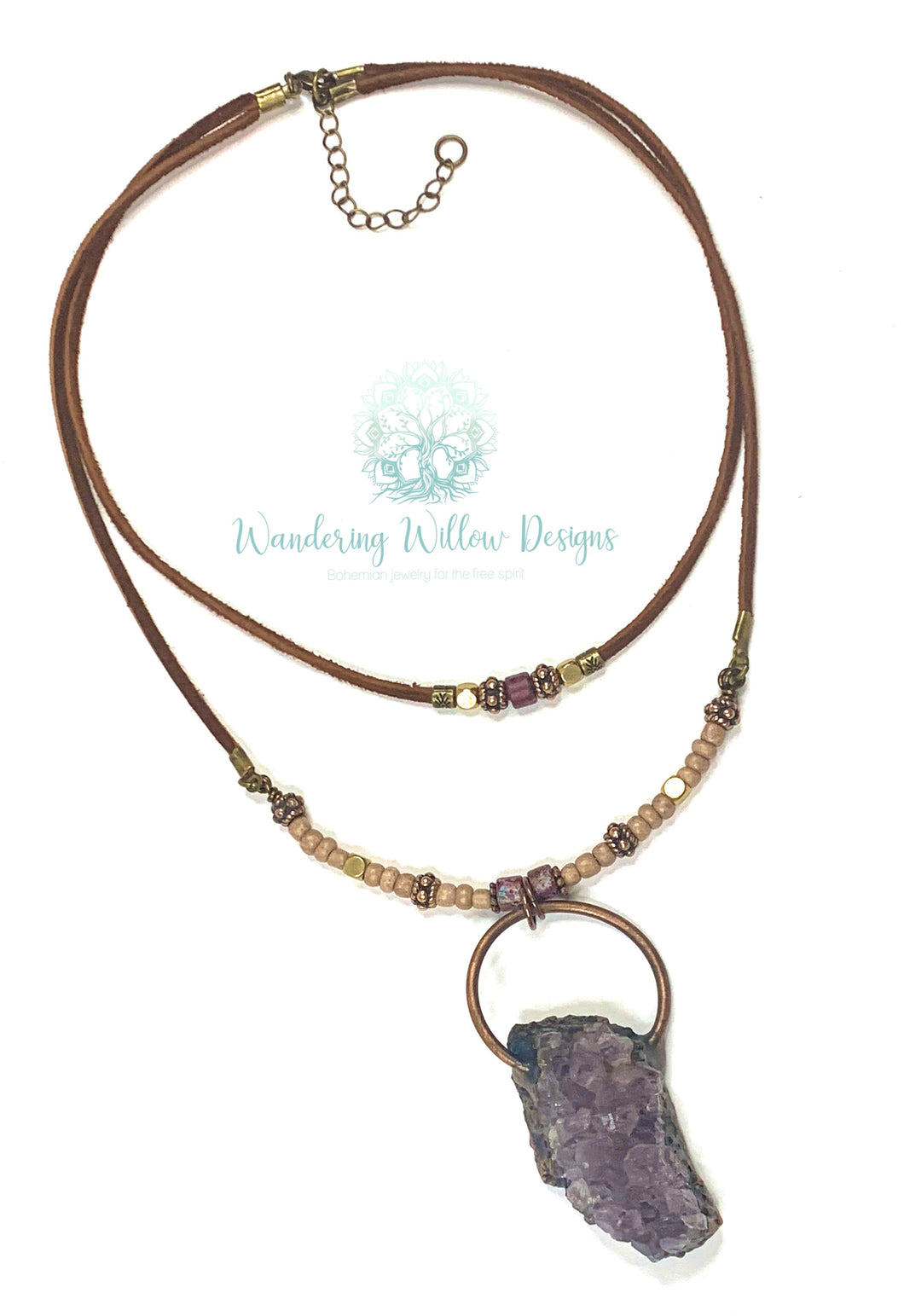 Large Amethyst Double Layered Necklace