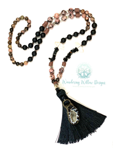 Agate Mala Tassel Necklace