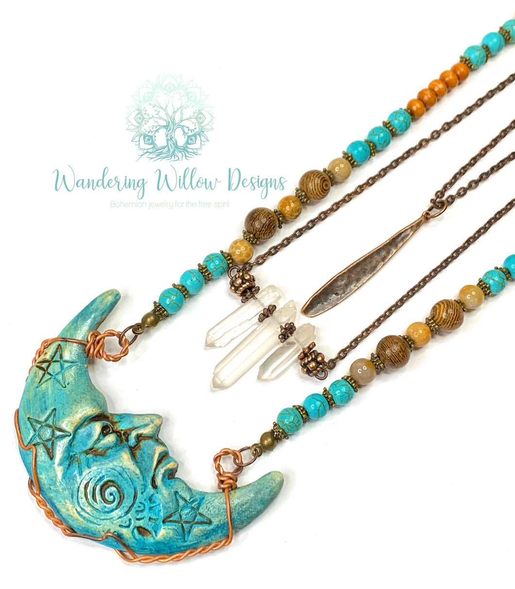 Layered Celestial Moon Necklace