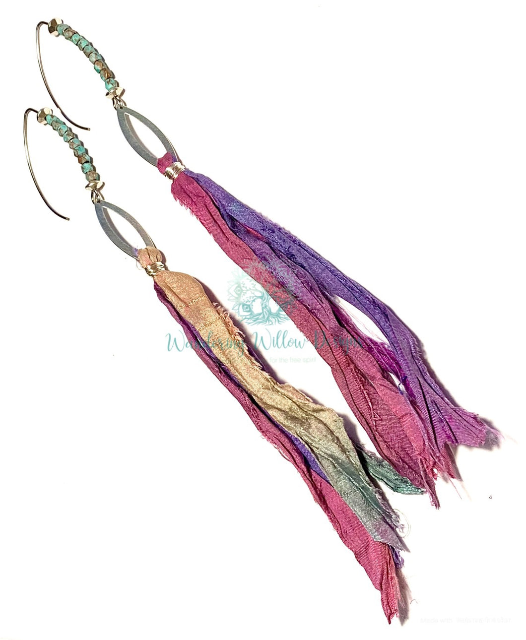 Gypsy Recycled Sari Silk Earrings