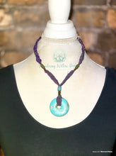 Load image into Gallery viewer, Sari Silk Knotted Turquoise Recycled Necklace
