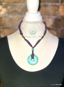 Sari Silk Knotted Turquoise Recycled Necklace