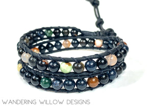 Mixed Black Agate Boho Wrap Bracelet Unisex