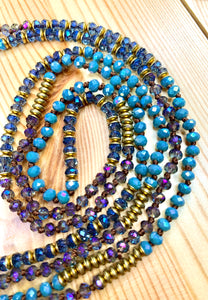 "60"" Colorful Mix Metal Wrap Necklace/Bracelet"