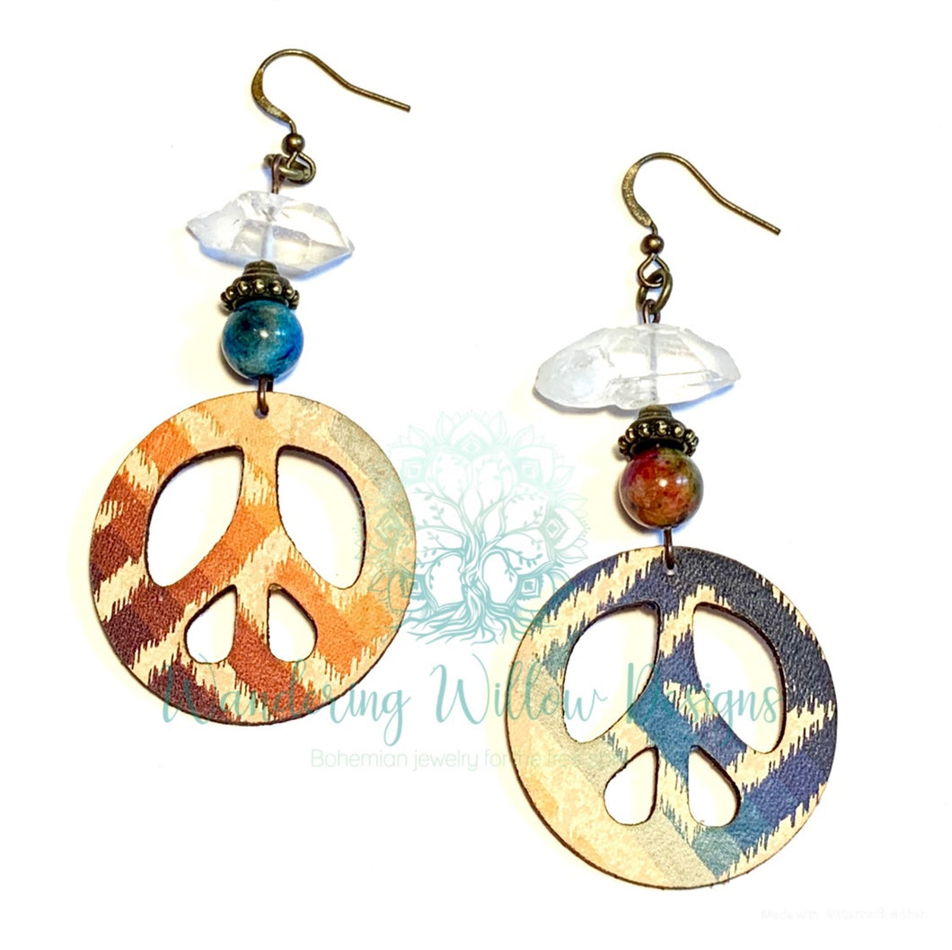 Peace Crystal Dangle Earrings