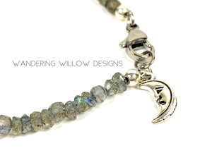 Genuine Labradorite Gemstone Moon Bracelet