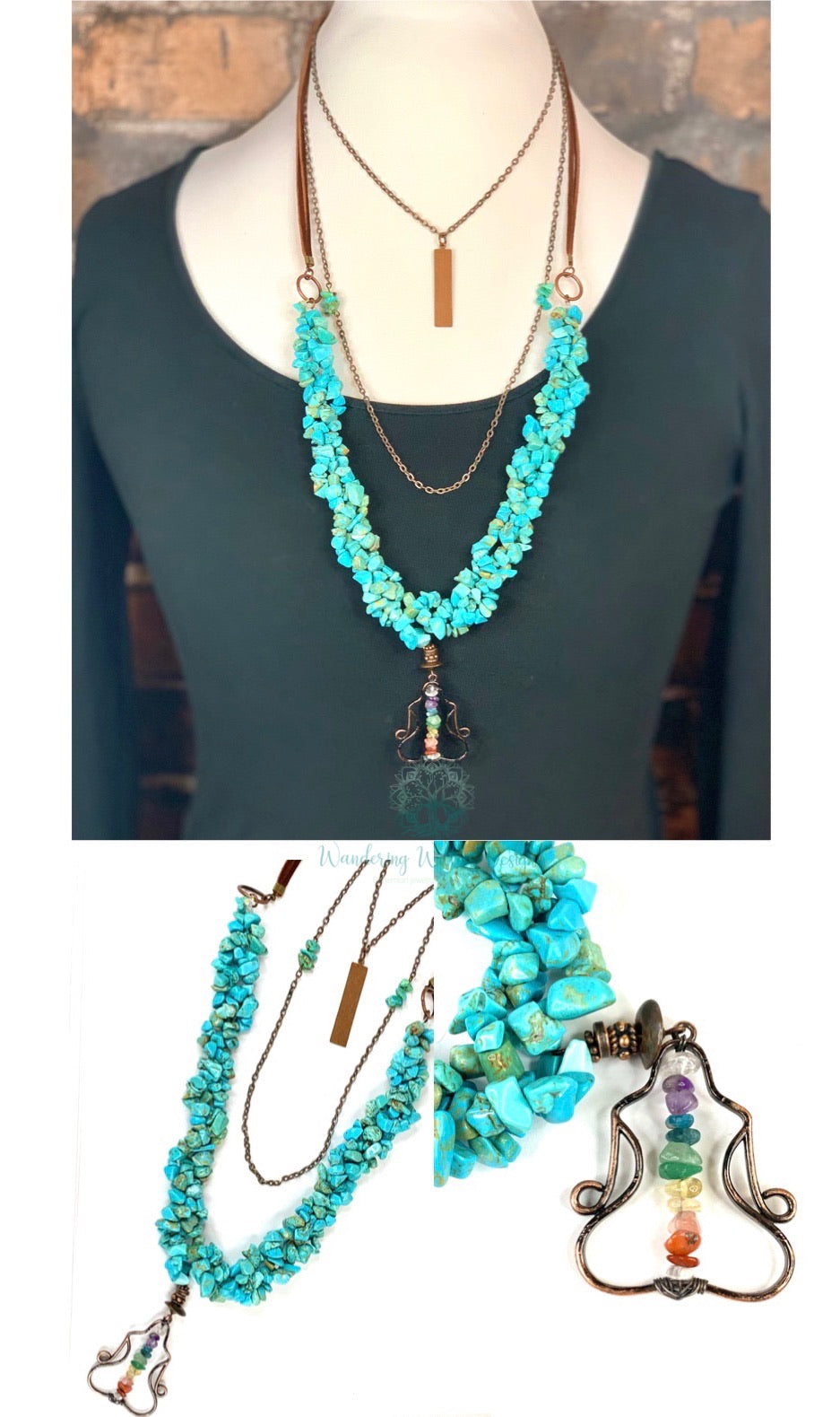 Bohemian Mulit-Layered Turquoise Chakra Necklace