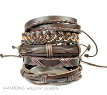 Load image into Gallery viewer, Brown leather Unisex Bracelet Set