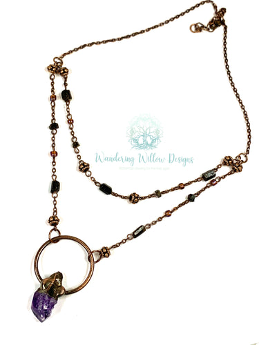 Amethyst Moon Double layered Necklace
