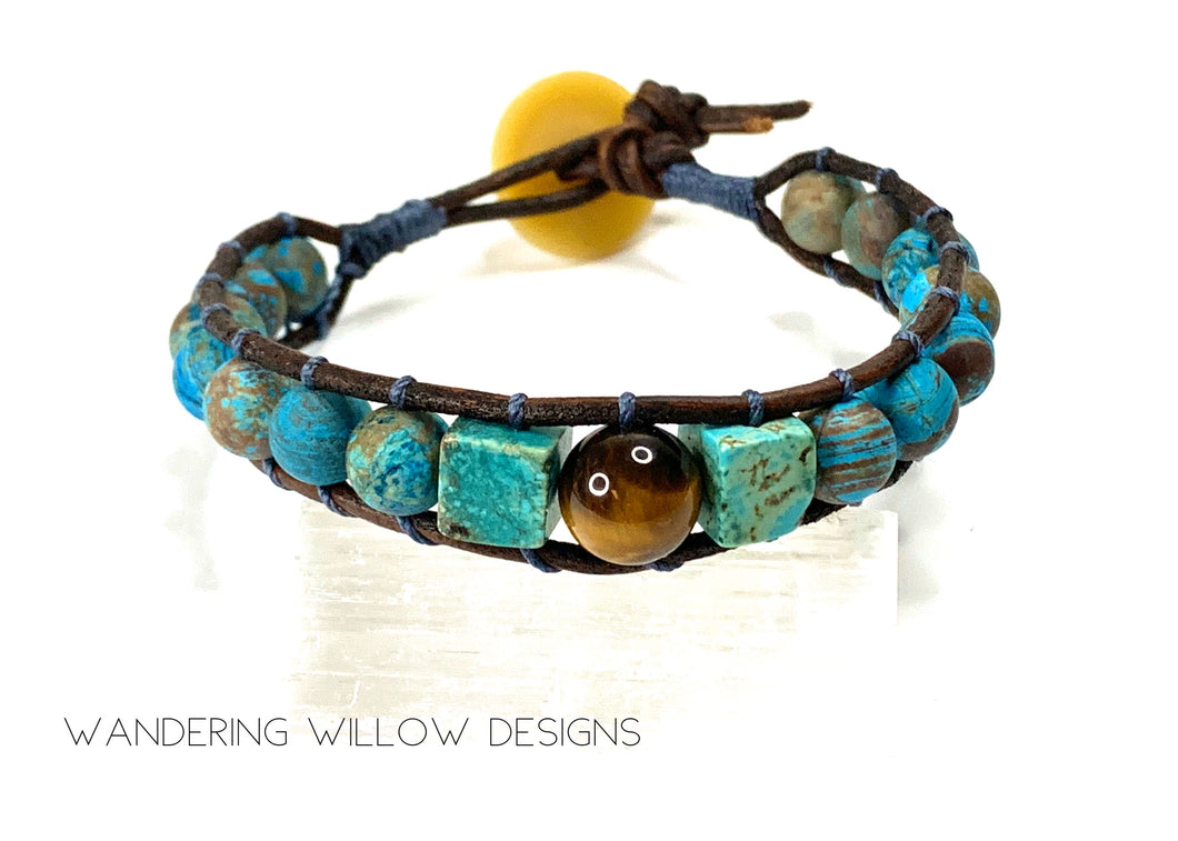 Tigers Eye & Turquoise Boho Protection Bracelet