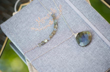 Load image into Gallery viewer, Cube Labradorite Infinity Necklace