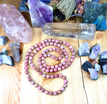 "Load image into Gallery viewer, 36"" Lt Pink Jasper Mala Necklace"