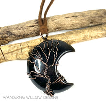 Load image into Gallery viewer, Black Onyx Oxidized Tree Of Life Pendant Necklace