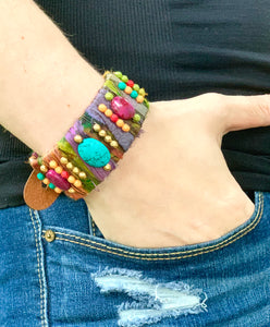 Recycled Sari Silk Leather Cuff Bracelet
