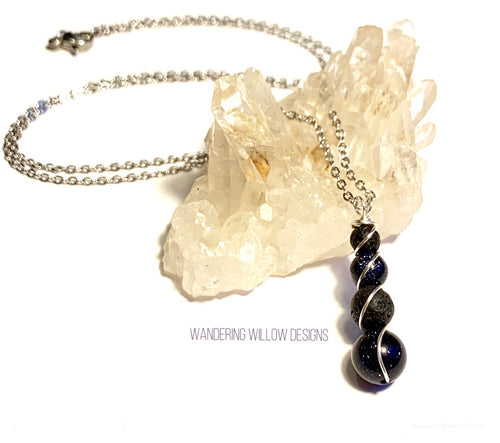 Vitality Diffusing blue sandstone Necklace