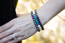 Load image into Gallery viewer, Diffusing Rainbow Hematite Stretch Bracelet