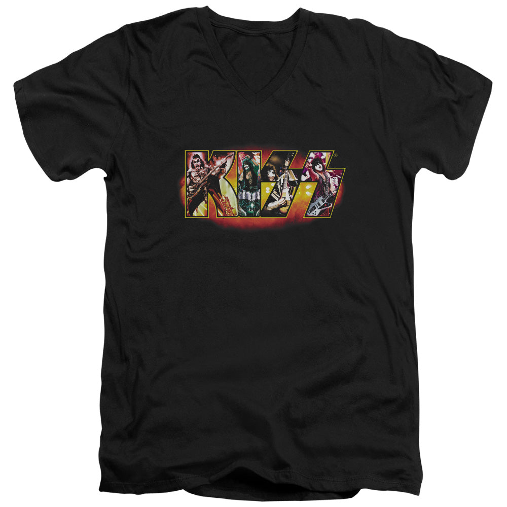 Kiss Collage Logo V Neck Band T-Shirt
