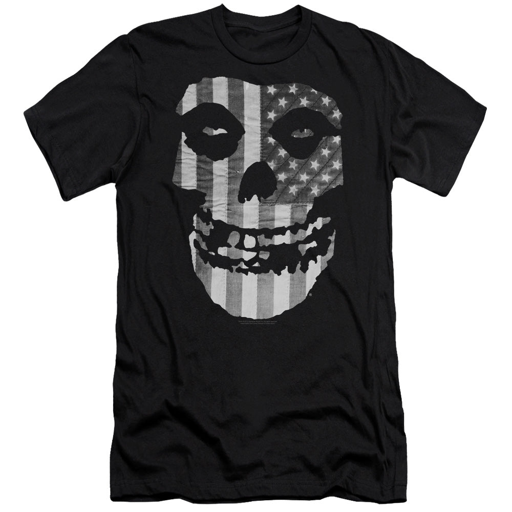 Misfits Fiend BW Flag Premium Canvas  Band T-Shirt