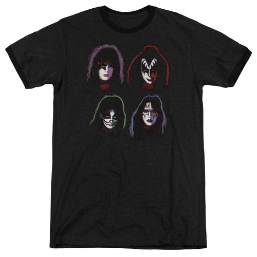 Kiss Solo Heads Heather Ringer Band T-Shirt